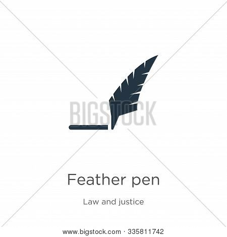 Feather Pen Icon Vector. Trendy Flat Feather Pen Icon From Law And Justice Collection Isolated On Wh