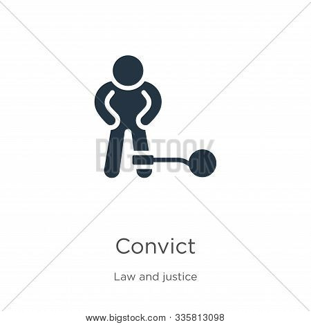 Convict Icon Vector. Trendy Flat Convict Icon From Law And Justice Collection Isolated On White Back