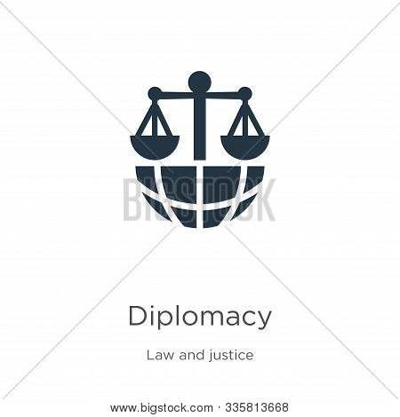 Diplomacy Icon Vector. Trendy Flat Diplomacy Icon From Law And Justice Collection Isolated On White