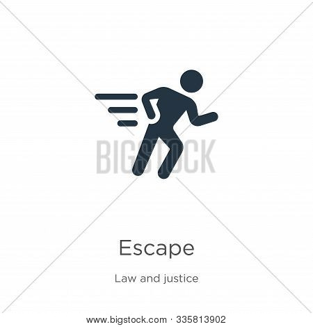 Escape Icon Vector. Trendy Flat Escape Icon From Law And Justice Collection Isolated On White Backgr