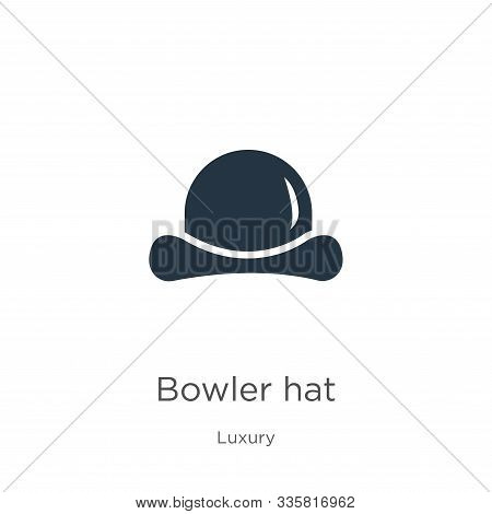 Bowler Hat Icon Vector. Trendy Flat Bowler Hat Icon From Luxury Collection Isolated On White Backgro