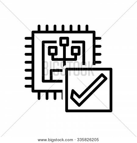 Black Line Icon For Verify Calibrate Inquire Inquire-into Investigate