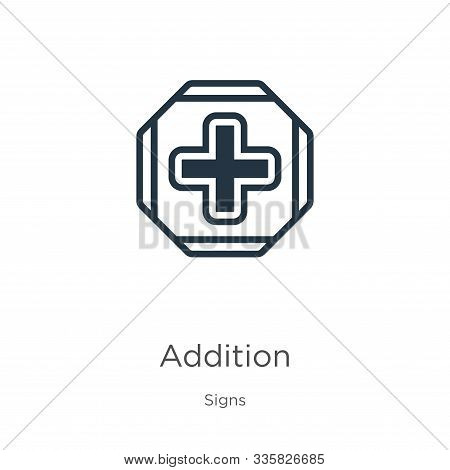 Addition Icon Vector. Trendy Flat Addition Icon From Signs Collection Isolated On White Background.