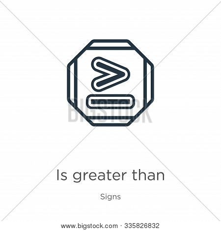 Is Greater Than Icon Vector. Trendy Flat Is Greater Than Icon From Signs Collection Isolated On Whit