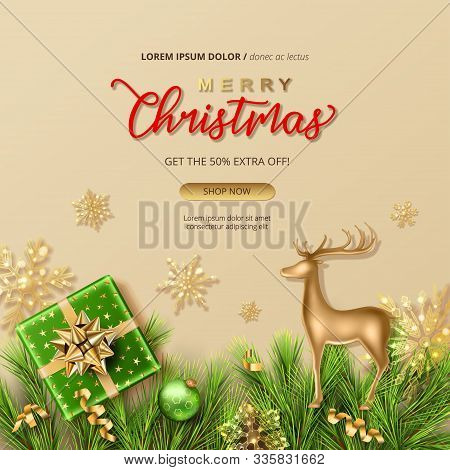 Merry Christmas And Happy New Year Sale Banner. Christmas Background With A Gift, Fir Tree Branches,