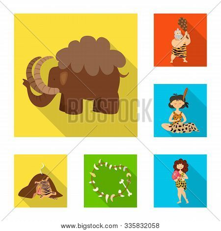 Vector Illustration Of Evolution And Prehistory Logo. Collection Of Evolution And Development Stock