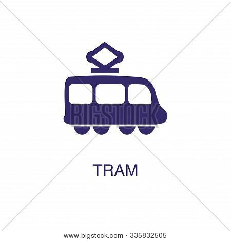 Tram Element In Flat Simple Style On White Background. Tram Icon, With Text Name Concept Template
