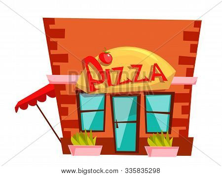 Pizzeria Building Flat Vector Illustration. Bistro, Cafe, Eatery Color Icon Isolated On White Backgr