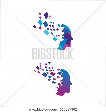 Head Tech Logo, Colorful Head Logo Concept Vector, Head Digital Technology Logo Template Designs Vec