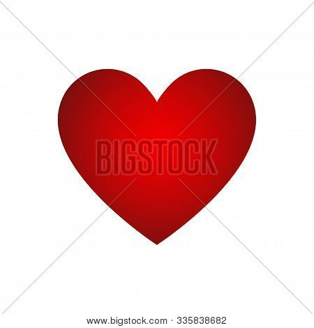 Red Heart Gradient Isolated Vector Decorative Element On White Background. Valentine Day Heart Vecto