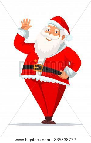 Santa Claus Flat Vector Illustration. Cheerful Old Man In Festive Christmas Costume Cartoon Characte