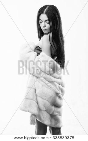 Girl Elegant Lady Wear Fashionable Coat Jacket. Luxurious Fur. Female With Makeup Wear Mink Beige Fu