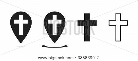 Christian Cross Vector Sign. Pointer With Cross Inside. Church Place. Vector Collection. Isolated Ve