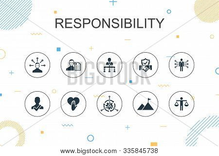 Responsibility Trendy Infographic Template. Thin Line Design With Delegation, Honesty, Reliability,