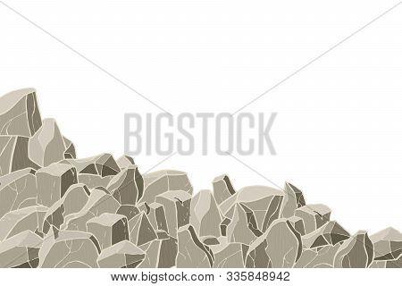 Stone Hill. Vector Illustration. Rock Surface Texture.
