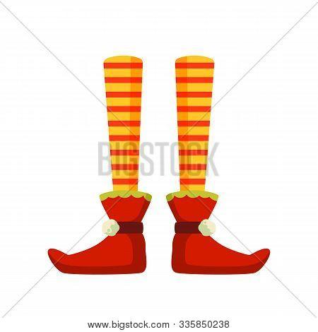 Xmas Elf Feet Flat Vector Illustration. Pixy, Santa Claus Helper Cartoon Character. Christmas Leprec