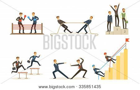 Office Workers Compete With Each Other, Achieve Goals Vector Illustration Set Isolated On White Back