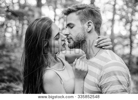 Giving Kiss. Seduction And Foreplay. Sensual Kiss Of Lovely Couple Close Up. Couple In Love Kissing