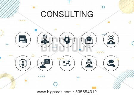 Consulting Trendy Infographic Template. Thin Line Design With Expert, Knowledge, Experience, Consult