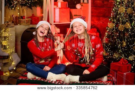 Joyful Christmas. Friendly Relations. Girls Friends Soulmates Celebrate Christmas. Happy Holidays. F
