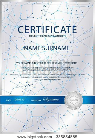 Certificate Vertical Vector Template Background. Formal Secured Guilloche Pattern For Diploma, Deed,