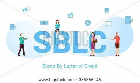 Sblc Stand By Letter Of Credit Concept With Big Word Or Text And Team People With Modern Flat Style