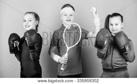 Sporty Siblings. Ways To Help Kids Find Sport They Enjoy. Friends Ready For Sport Training. Child Mi