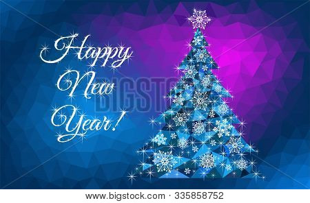 Happy New Year Greetings With Abstract Christmas Tree - Vector Illustration