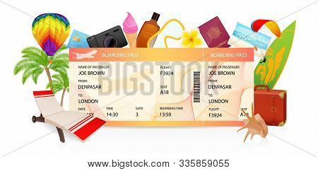 Boarding Pass (ticket, Traveler Check Template) Creative Concept. Travel Vector Background With Airp