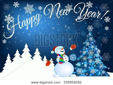 Happy New Year Greetings With Abstract Christmas Tree And Snowman - Vector Illustration