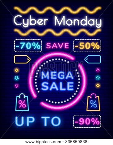 Cyber Monday Vector, Mega Sale Discounts. Save Up To 70 Or 50 Percent On Production Of Store. Promot