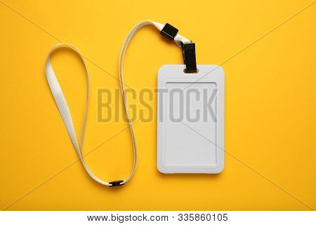 Blank Security Tag With White Neck Band Isolated, Mockup.