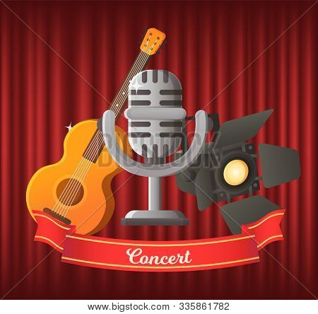 Concert Vector, Microphone And String Musical Instrument Guitar. Mike In Retro Style, Spotlights For