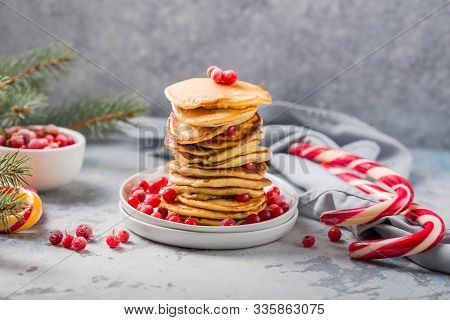 Pancakes. Christmas Festive  Pancake. Homemade Pancake Or Hot Cake Stacked On White Plate With Berry