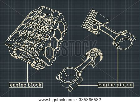 Stylized Vector Illustration Of The Drawings Of The Cylinder Block Of The V-engine And The Cylinders