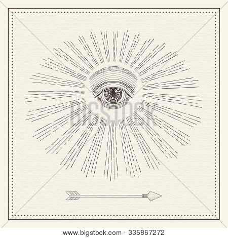 Vector All-seeing Eye, Eye In The Sky With Light Ray, Symbol Of The Masons, Illuminati, Monochrome H