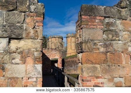 Port Arthur, Australia - July 19, 2014:  The Penitentiary Building Landmark At Port Arthur Historic