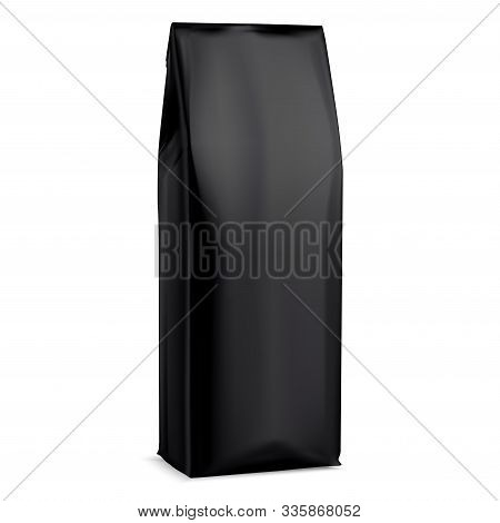 Black Coffee Bag Mockup.foil Package. 3d Pouch Mock Up Design Template. Realistic Powder Beverage Pa