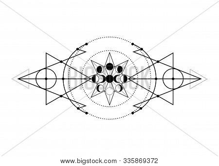 Phases Of The Moon And Triple Moon. Mystical Drawing, Energy Circles, Magic Triangles. Sacred Geomet