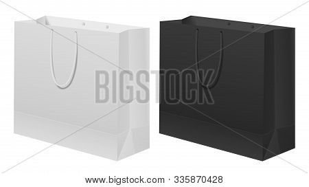 Paper Bag Black, White Set. White Carry Gift Template With Handle. Empty Branding Box Merchandise Re