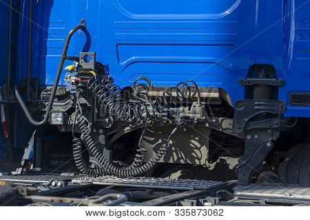 Tow Hitch, Rear View Truck, Tow Hitch. Clutching A Truck With A Semitrailer, Pressure Hoses, Electri