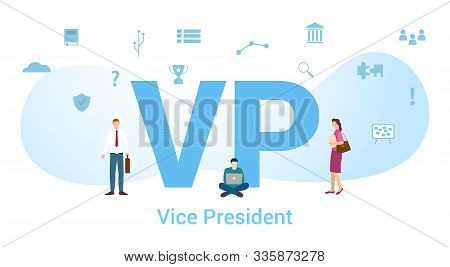 Vp Vice President Concept With Big Word Or Text And Team People With Modern Flat Style - Vector Illu
