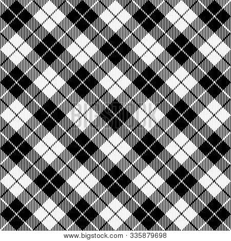 Christmas And New Year Tartan Plaid. Scottish Diagonal Pattern In Black And White Cage. Scottish Cag