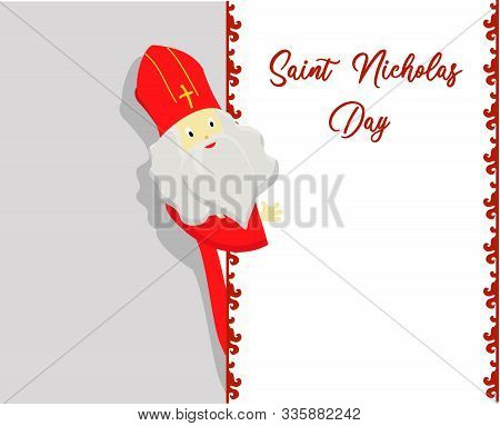 St. Nicolas Day. Greeting Card For The Sinterclass. Holiday Gifts In A Red Bag..