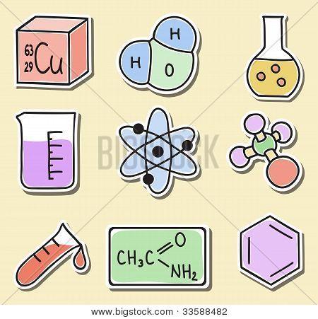 Abbildung der Chemie-Ikonen-Aufkleber