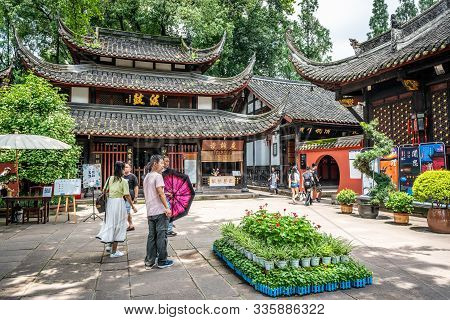 Chengdu China, 3 August 2019 : Wenshu Monastery Buddhist Temple Entrance With Chinese Tourists In Ch