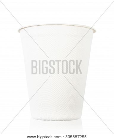 Nature Cup From Bagasse For Drink Water Isolate On White Background, Save Clipping Path. Eco Friendl