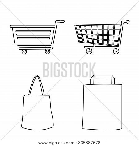 Isolated Object Of Pushcart And Shopping Symbol. Set Of Pushcart And Cart Stock Symbol For Web.