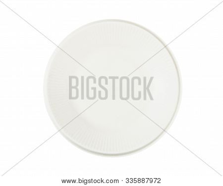 Nature Dish From Bagasse For Food Isolate On White Background, Save Clipping Path. Eco Friendly Conc