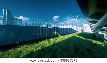 Modern Black Frameless Solar Panel Farm, Battery Energy Storage And Wind Turbines On Fresh Green Gra